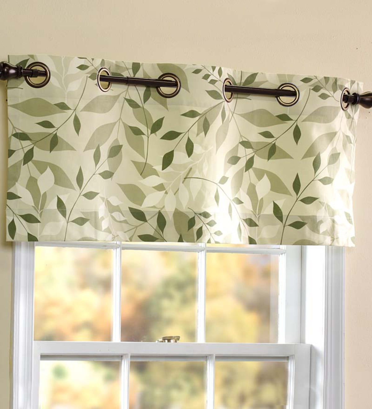 "Leaves Grommet-Top Valance, 15""L"