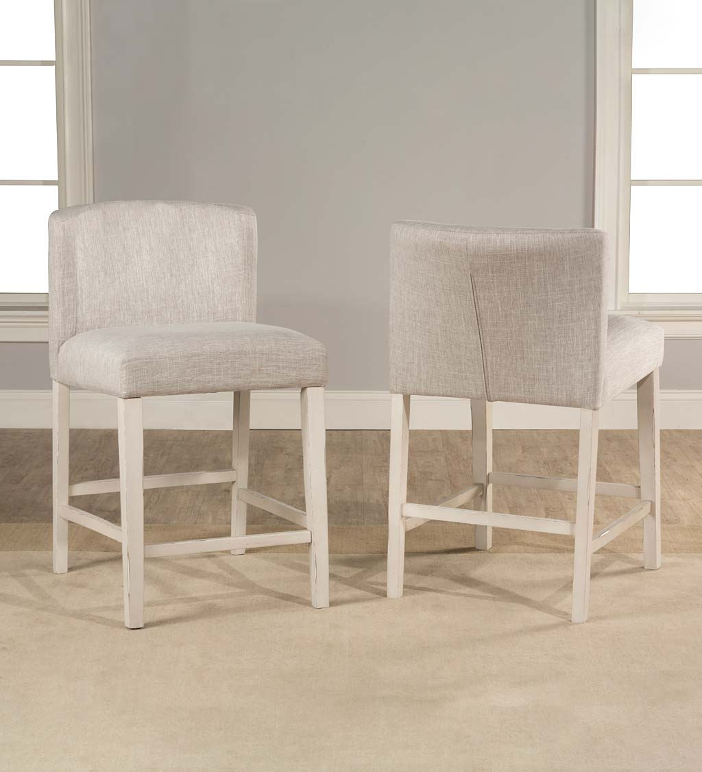 Caldwell 3-Piece Rectangle Counter Height Table with Two Parson Upholstered Wing Arm Counter Stools in Sea White with Fog Fabric Set