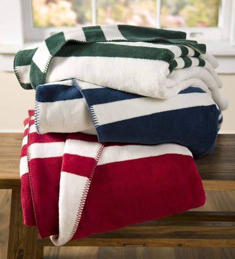 King Signature Stripe Fleece Blanket Plowhearth