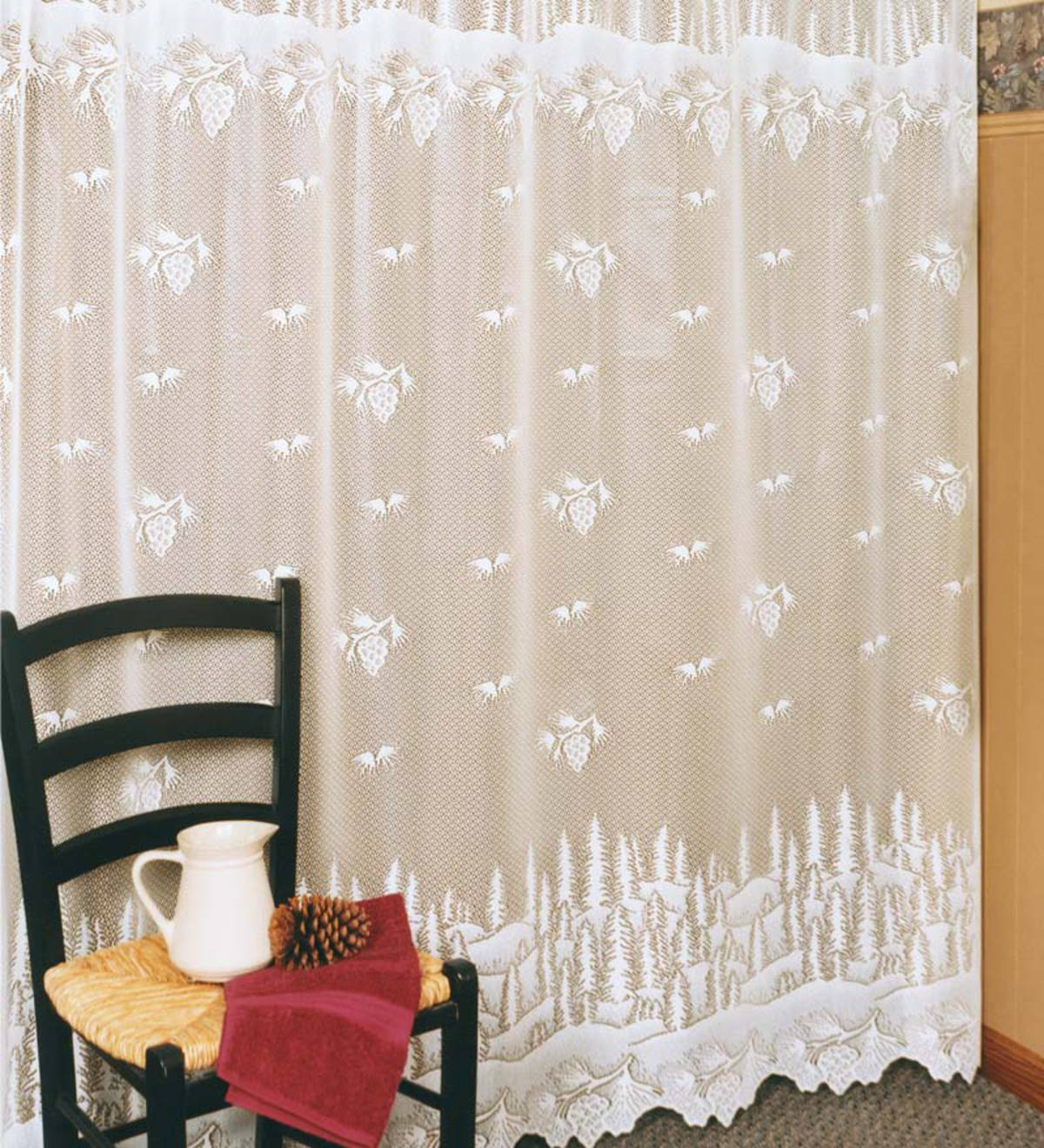 USA Made Pinecone Lace Shower Curtain