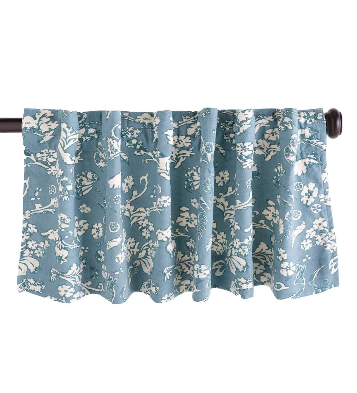 Floral Damask Rod Pocket Homespun Insulated Curtain Valance 42 W X 14 L Blue Plowhearth