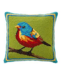 Indoor/Outdoor Hooked Painted Bunting Throw Pillow