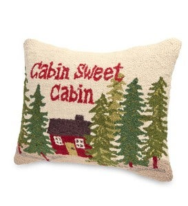 Hooked Wool Cabin Sweet Cabin Throw Pillow