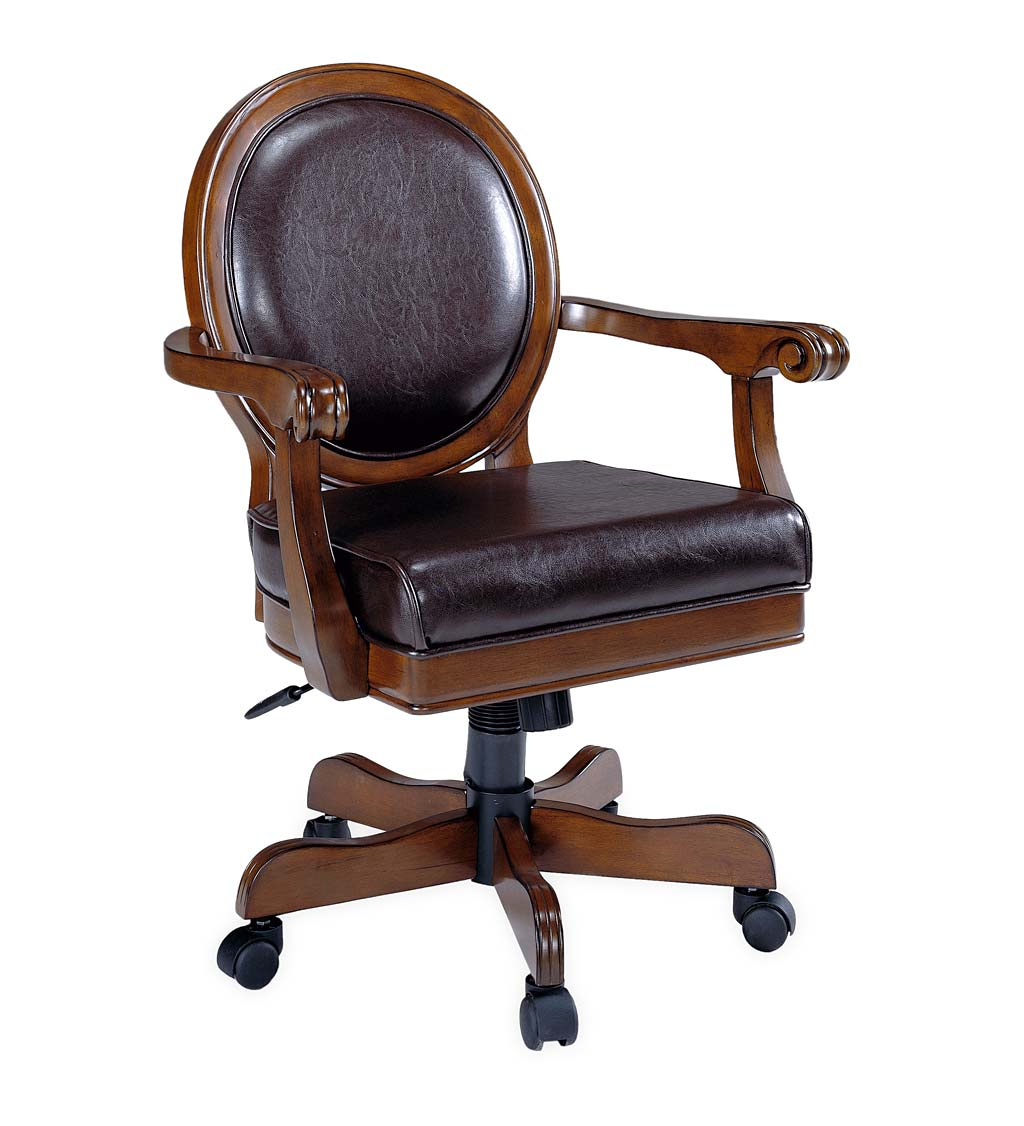 Bellevue Tilt And Swivel Adjustable Height Round Back Game Chair in Rich Cherry and Brown Leather with Casters