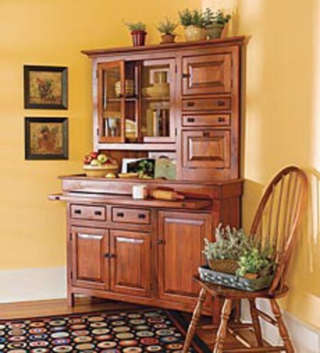 Stained Finish Corner Conestoga Cupboard