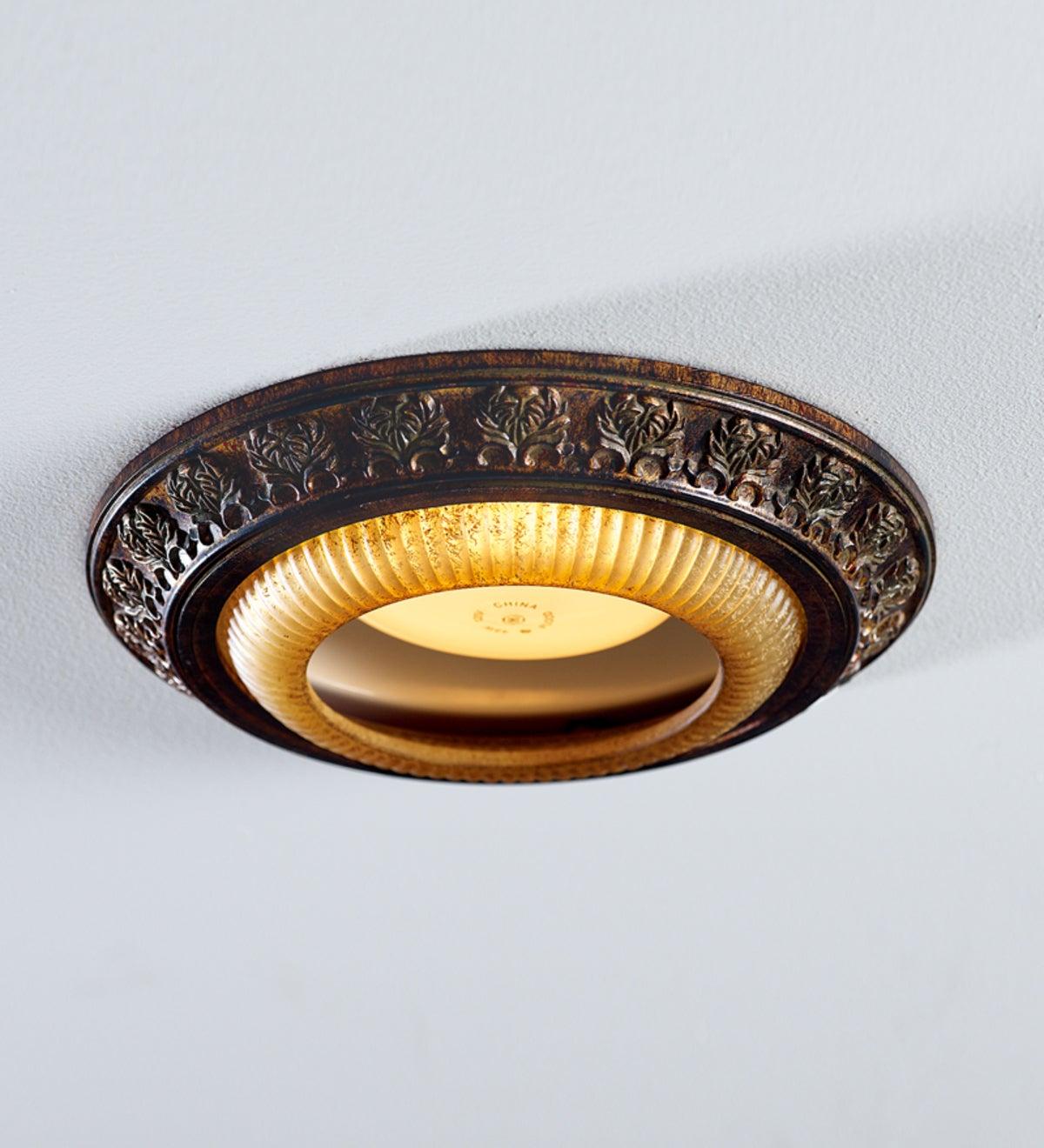Acanthus Leaves Decorative Bronze Recessed Light Cap Ring Bronze Plowhearth