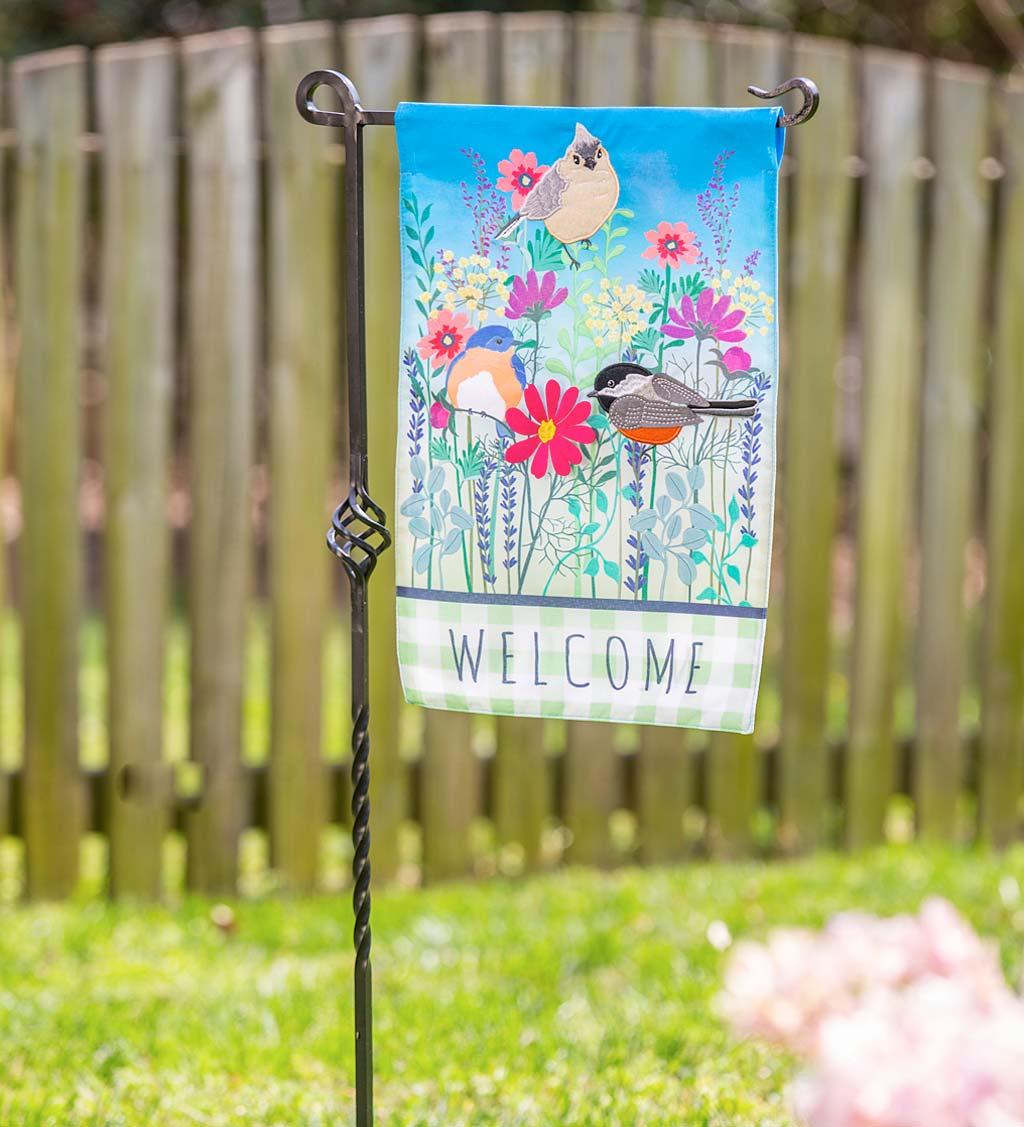 Wild Flowers and Songbirds Linen Welcome Garden Flag