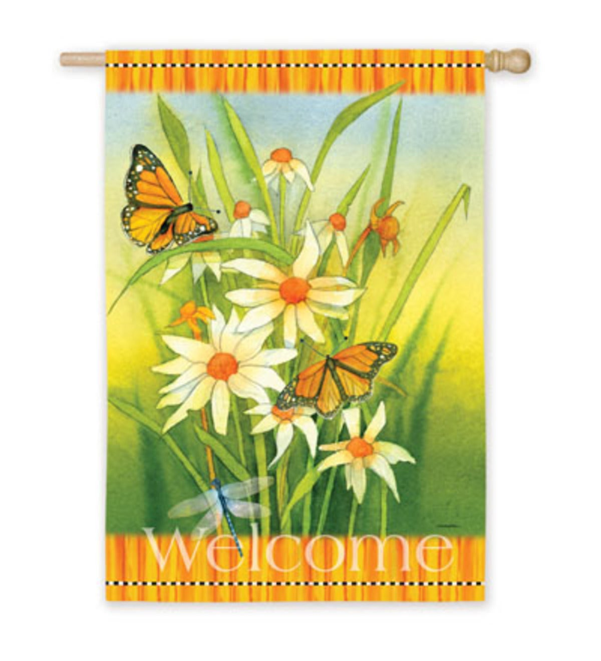 "12-1/2""W x 18""L Welcome Daisy Garden Flag"