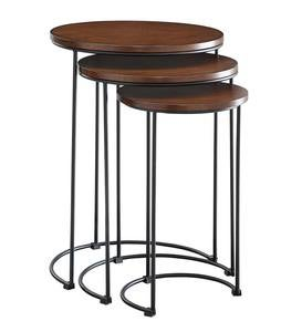 3-Piece Industrial Style Round Metal and Wood Nesting Tables