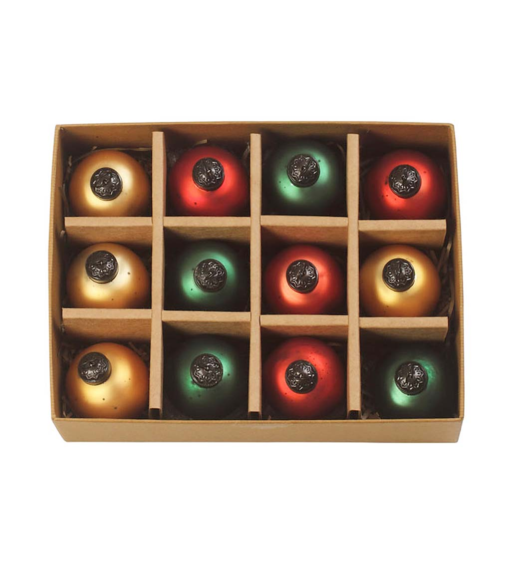 Holiday Antiqued Classic Round Ornaments, Set of 12