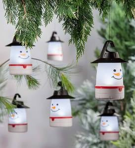 LED Snowman Lantern Lights, Set of 4