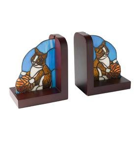 Stained Glass Cat Bookends, Set of 2