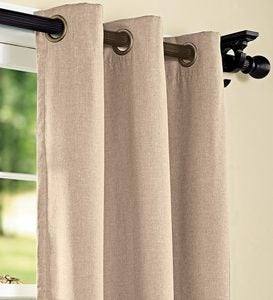 "Homespun Grommet-Top Insulated Curtain, 63""L - Red"