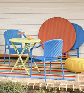 Colorful Wicker Stacking Chair - Blue