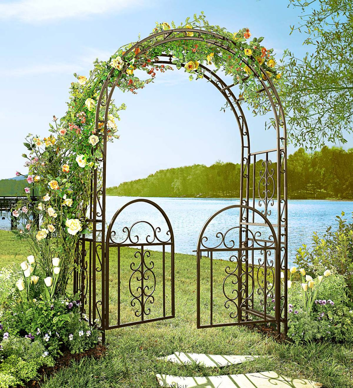 Montebello Iron Garden Arbor with Scrollwork
