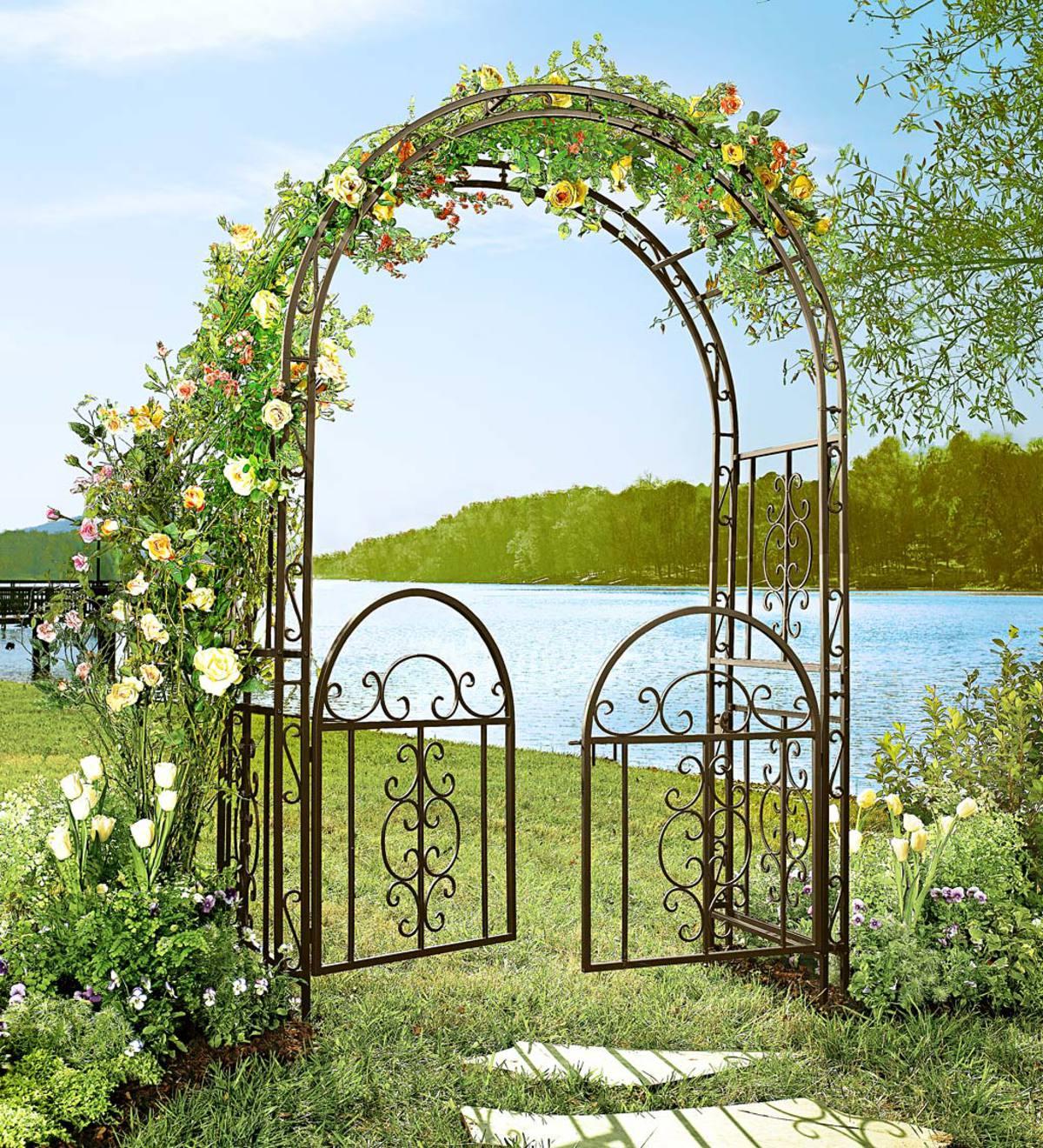 Ornamental Metal Round Top Garden Planter Arch: Montebello Iron Garden Arbor With Gate