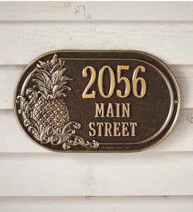 Personalized Pineapple Address Plaque - Antique Brass