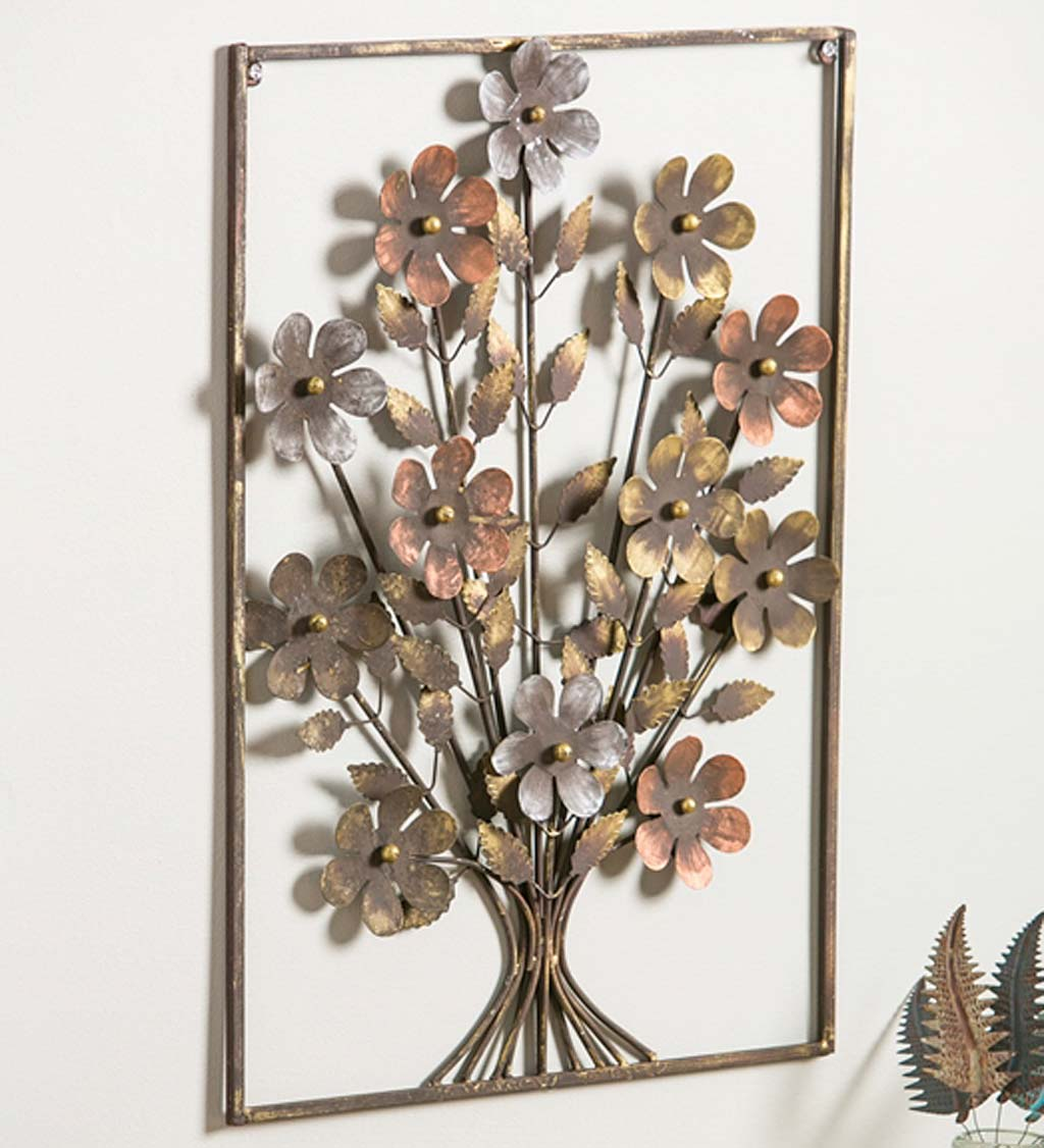 Metal Framed 3D Flower Bouquet Wall Art