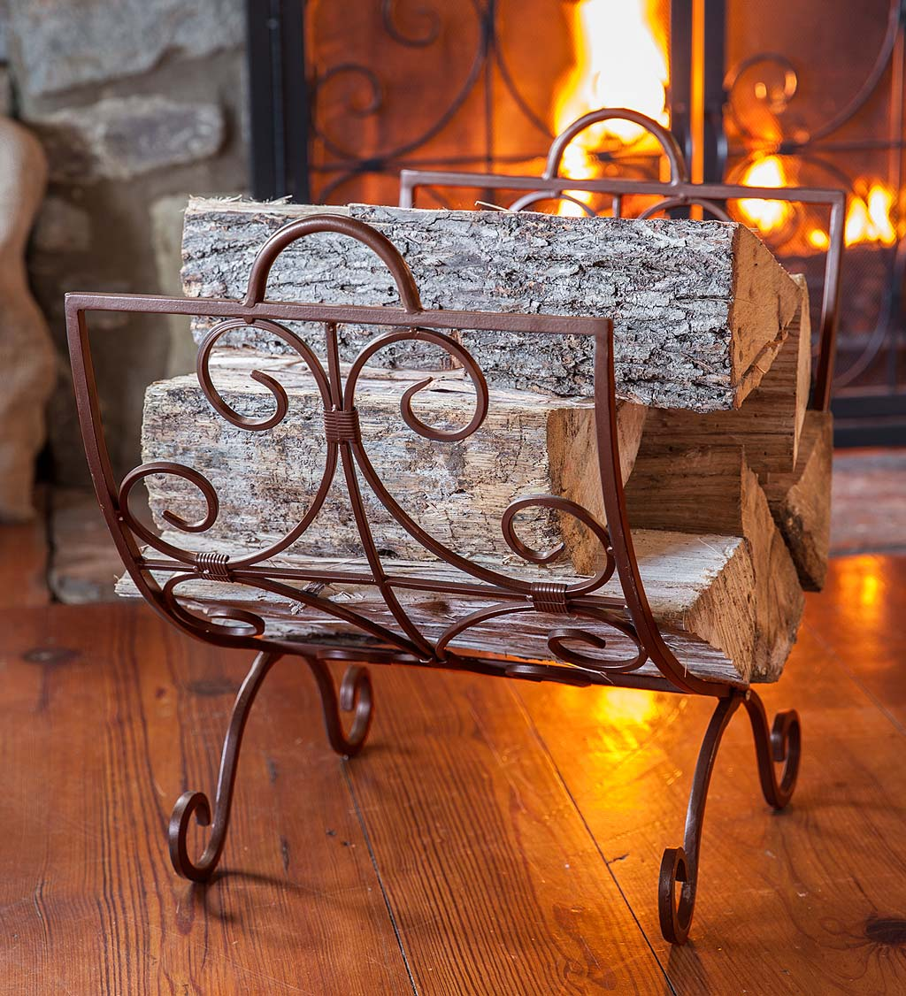 Crest Scrollwork Fireplace Log Holder