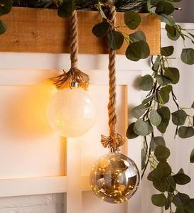 Large Glass Indoor Ball Light With Hanging Rope and Integrated Timer