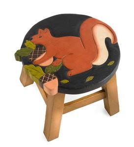 Hand-Carved Wood Squirrel Footstool