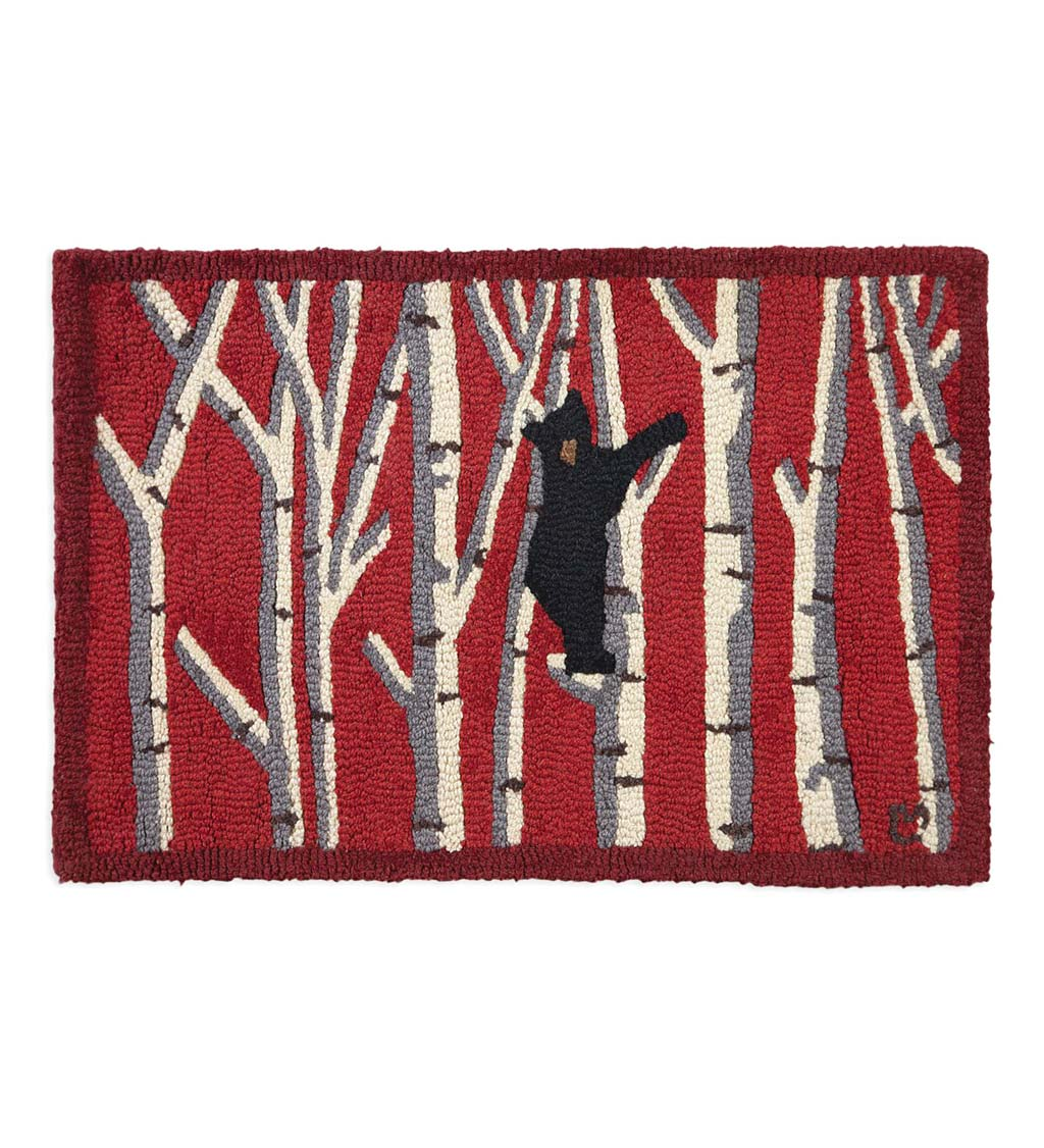 Hooked Wool Black Bear in Birches Accent Rug