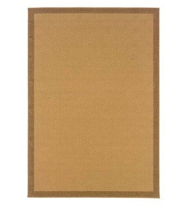 "7'3""W x 10'6""L Indoor/Outdoor Stain-Resistant Textured Lanai Rug with Solid Color Border - BROWN"