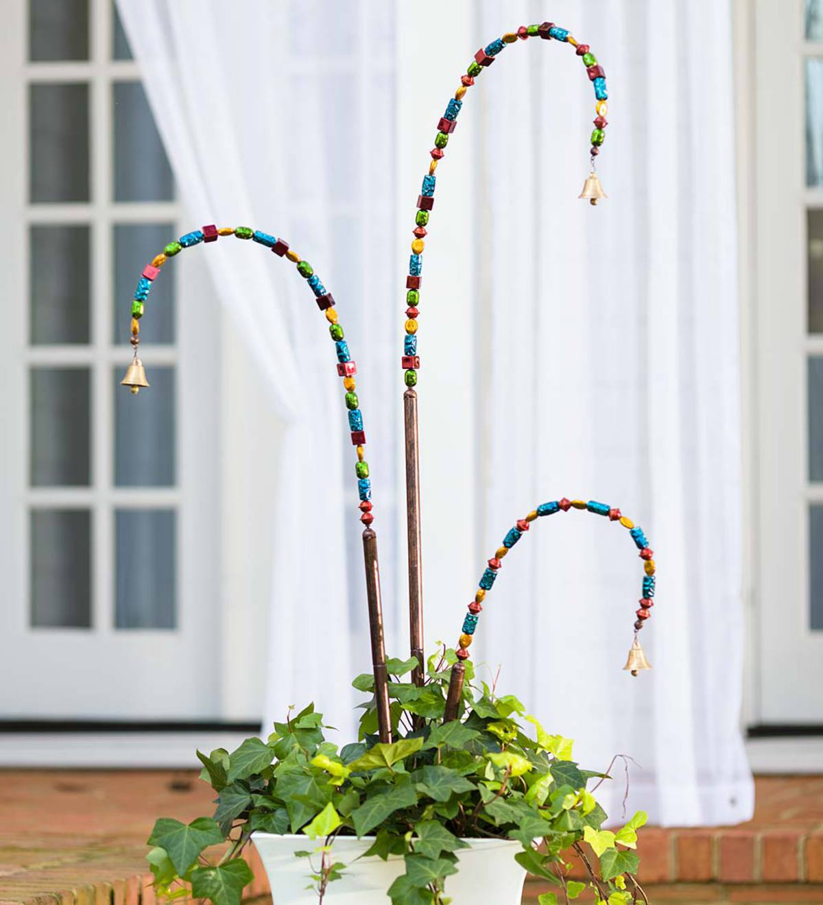 Beaded Garden Stake with Bell, Set of 3