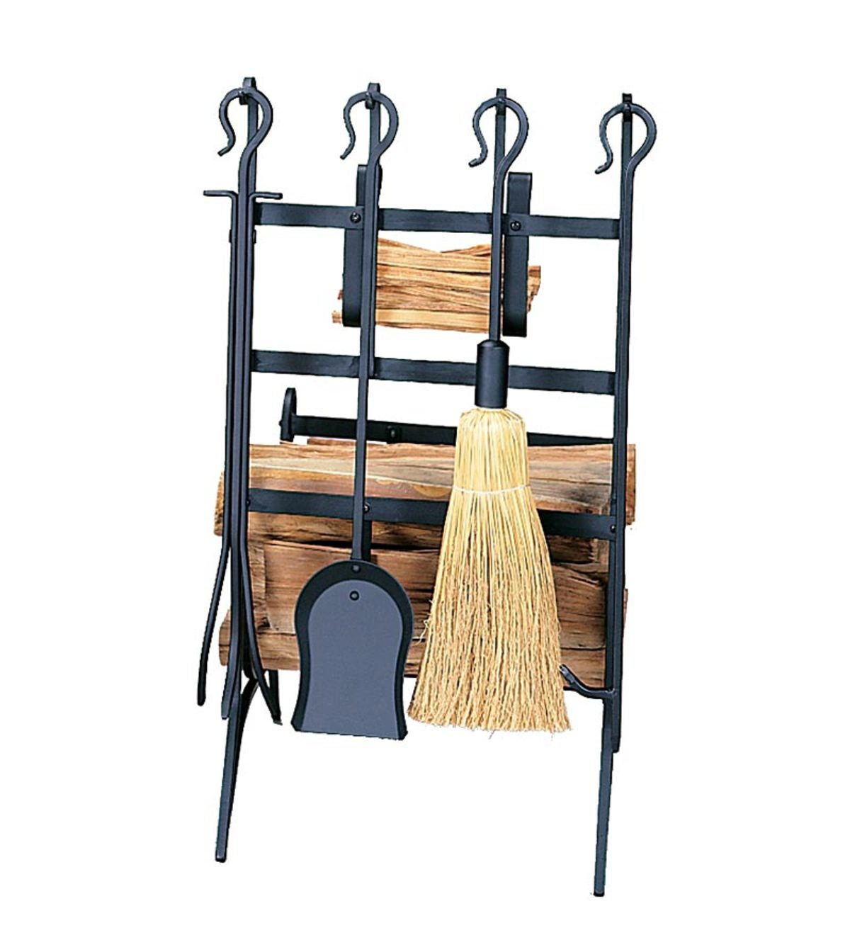Black Wrought Iron Log Rack With Tools And Fatwood Rack - Black