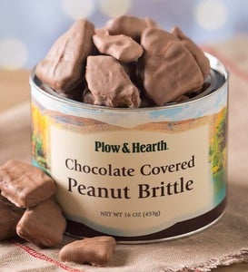 Chocolate Covered Peanut Brittle, 18 oz. Resealable Tin