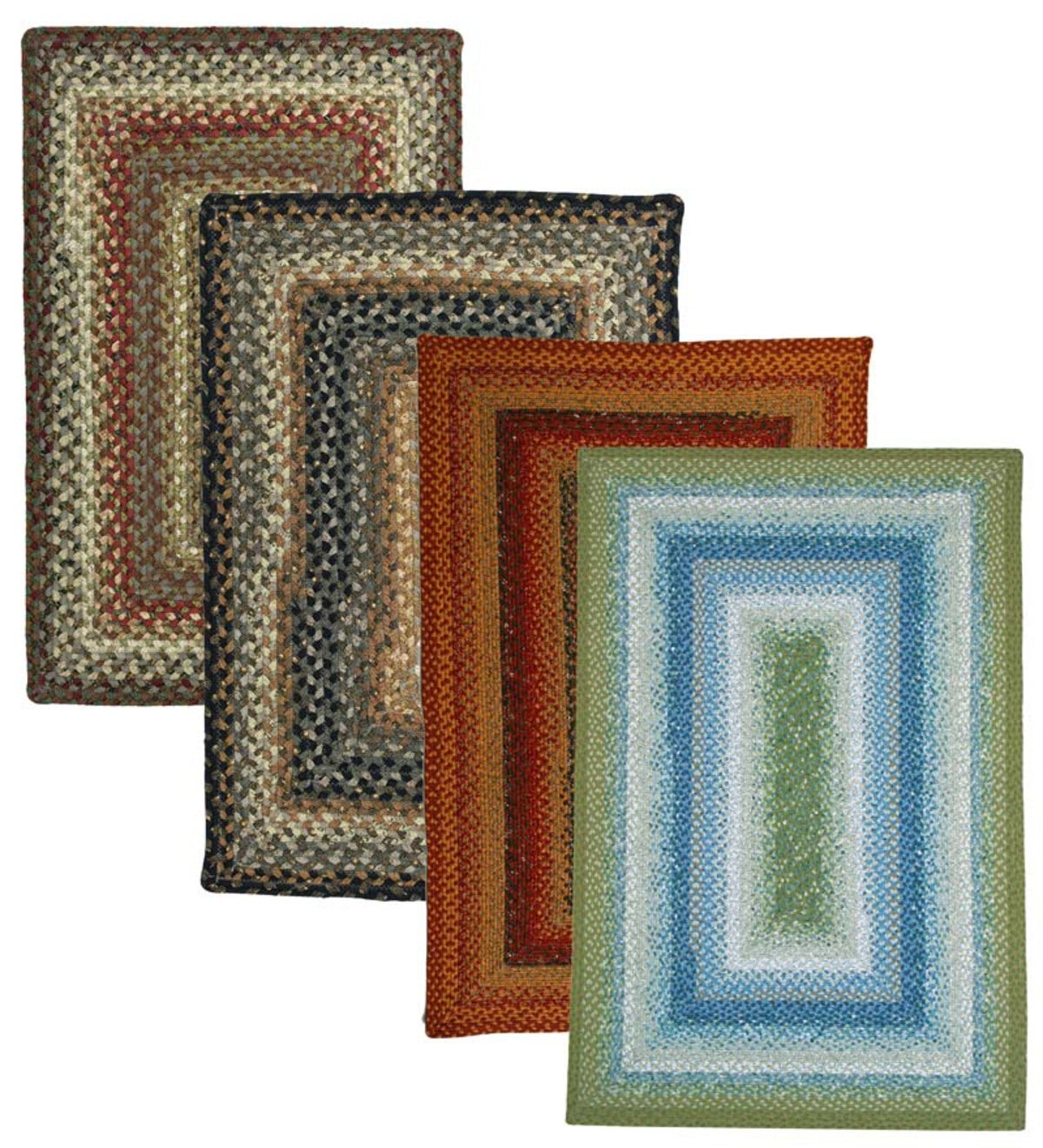 Rectangular Cotton Blend Reversible Braided Rugs