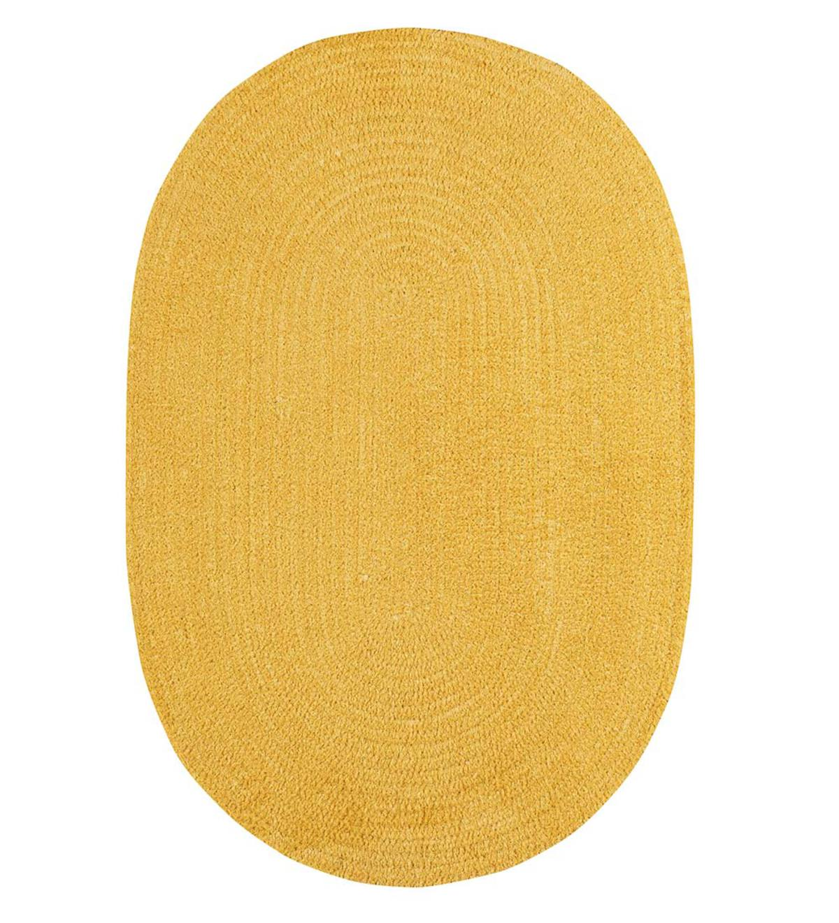 Chenille Oval Braided Area Rug, 5' x 8' - Citron