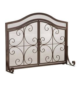 Small Crest Fireplace Screen With Doors
