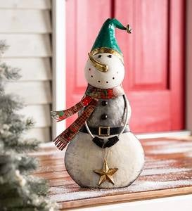 Indoor/Outdoor Vintage Holiday Snowman Metal Christmas Statue