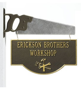 American-Made Personalized 2-Sided Workshop Sign With Saw Bracket In Cast Aluminum