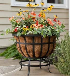 Footed Metal Basket Planter with Coco Liner