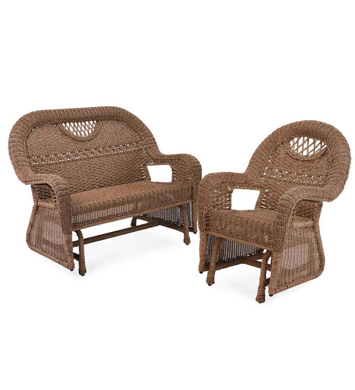 Plow And Hearth Furniture: Prospect Hill Wicker Love Seat Glider And Chair Glider Set