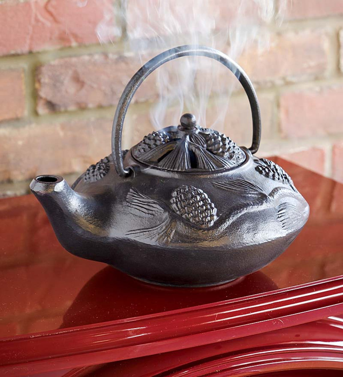 Cast Iron Wood Stove Kettle Steamer with Pine Cone Design