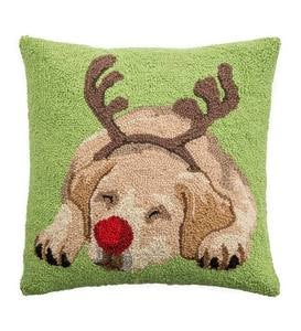 Hooked Wool Yellow Labrador with Antlers Holiday Throw Pillow