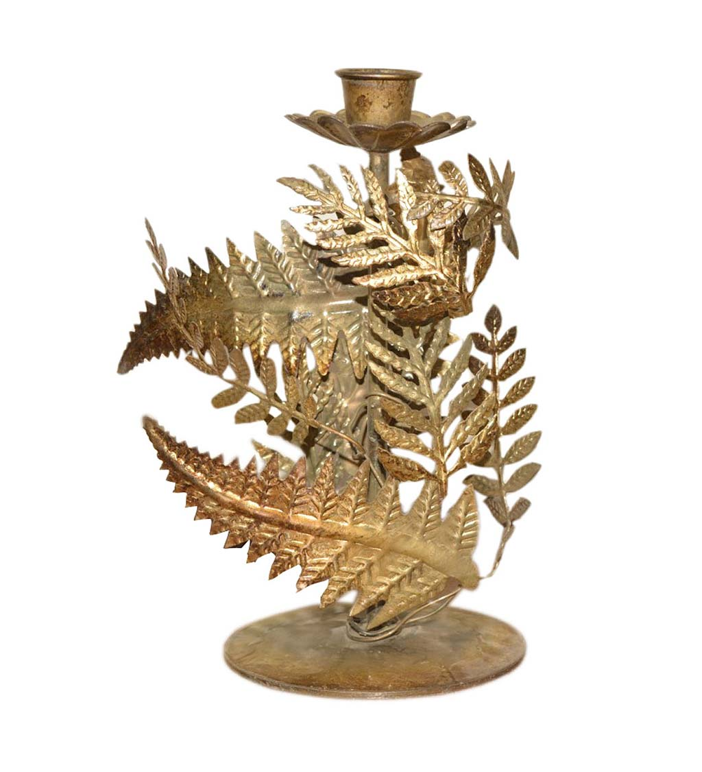 Golden Foliage Tapered Candle Holder