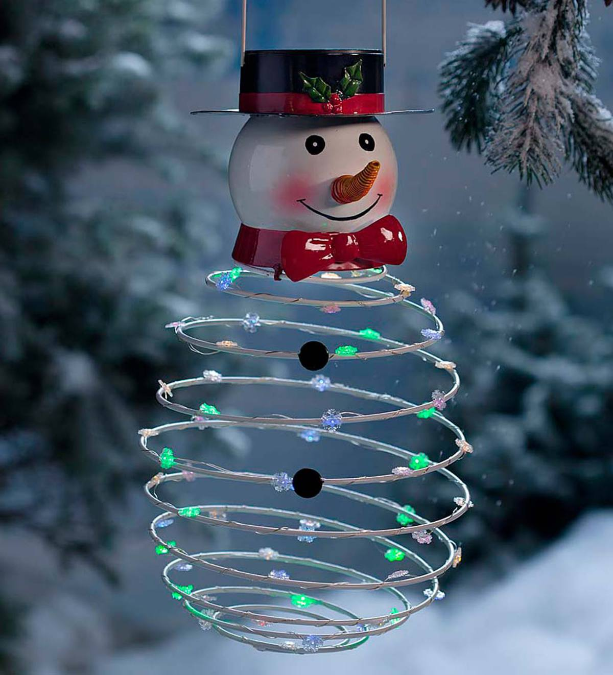 Solar-Powered Lighted Snowman Hanging Decoration ...