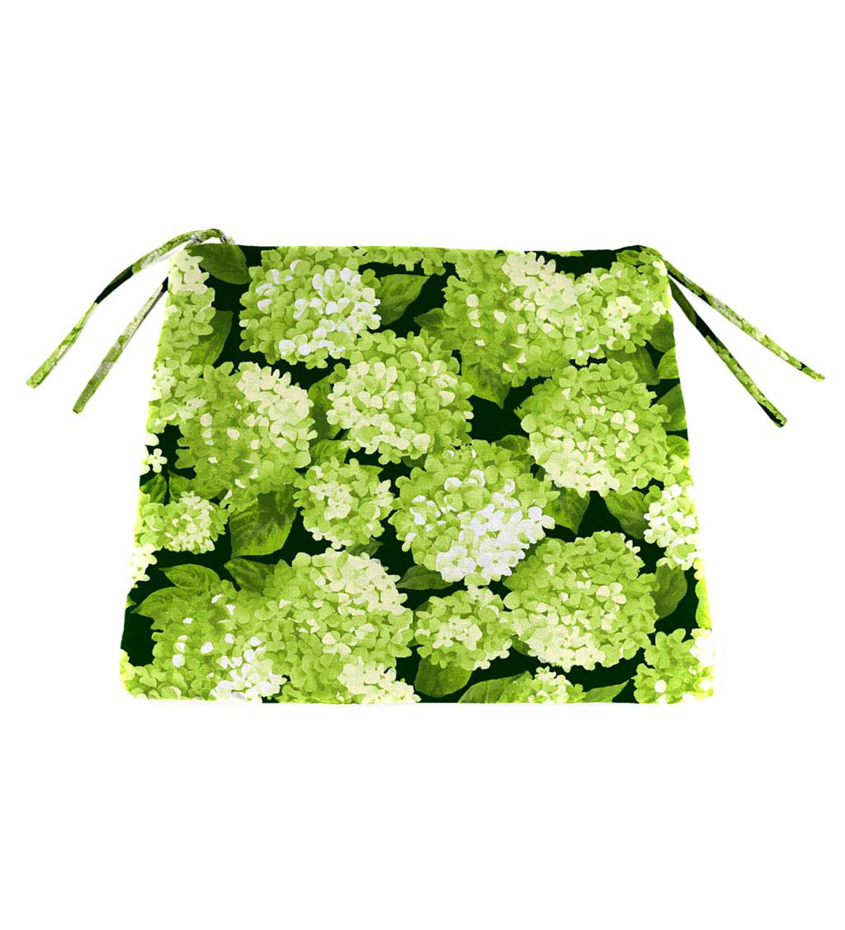 "Polyester Classic Chair Cushions with Ties, 18½""x 16½""x 3"" - Forest Hydrangea"