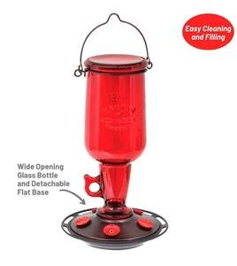 Vintage Red Glass 23-Ounce Jug-Style Hummingbird Feeder