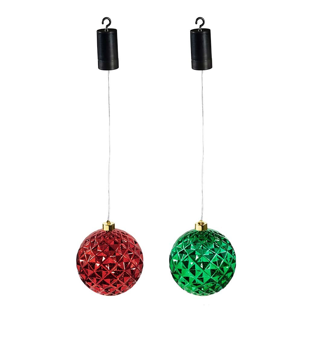 "Indoor/Outdoor Lighted Shatterproof Hanging Holiday Faceted Ball 6"" Ornaments, Set of 2 - Green/Red"