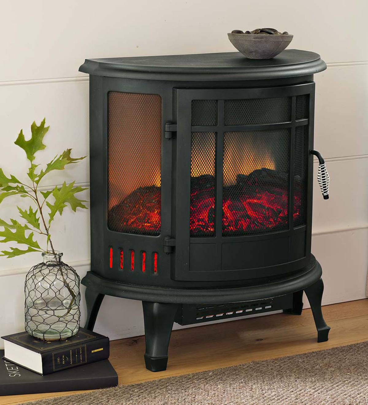 Curved Panoramic Electric Fireplace Stove Black Plowhearth