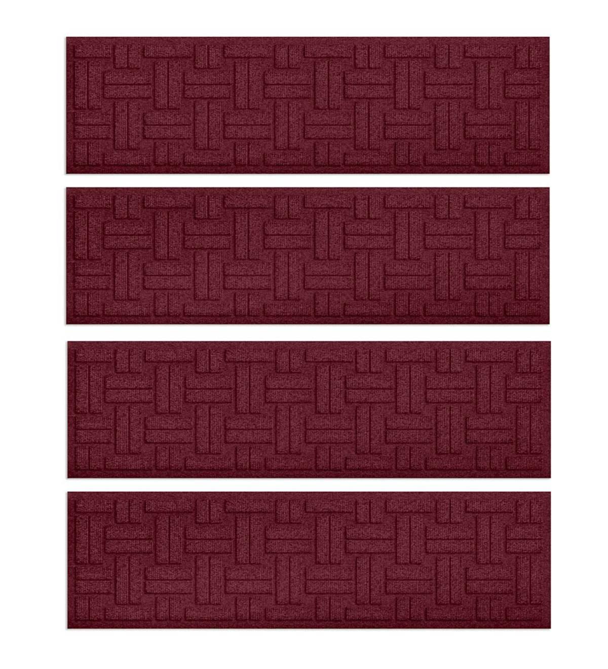 Waterhog Basket Weave Stair Treads Set Of 4 Bordeaux