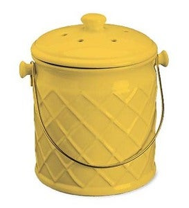 1-Gallon Lattice Ceramic Compost Crock - Black