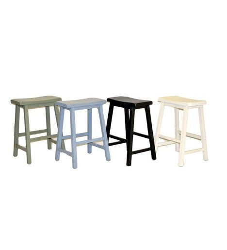 Set Of 2 Wood Saddle Seat Counter Height Stools