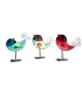 Colorful Glass Bird Garden Accents, Set of 3