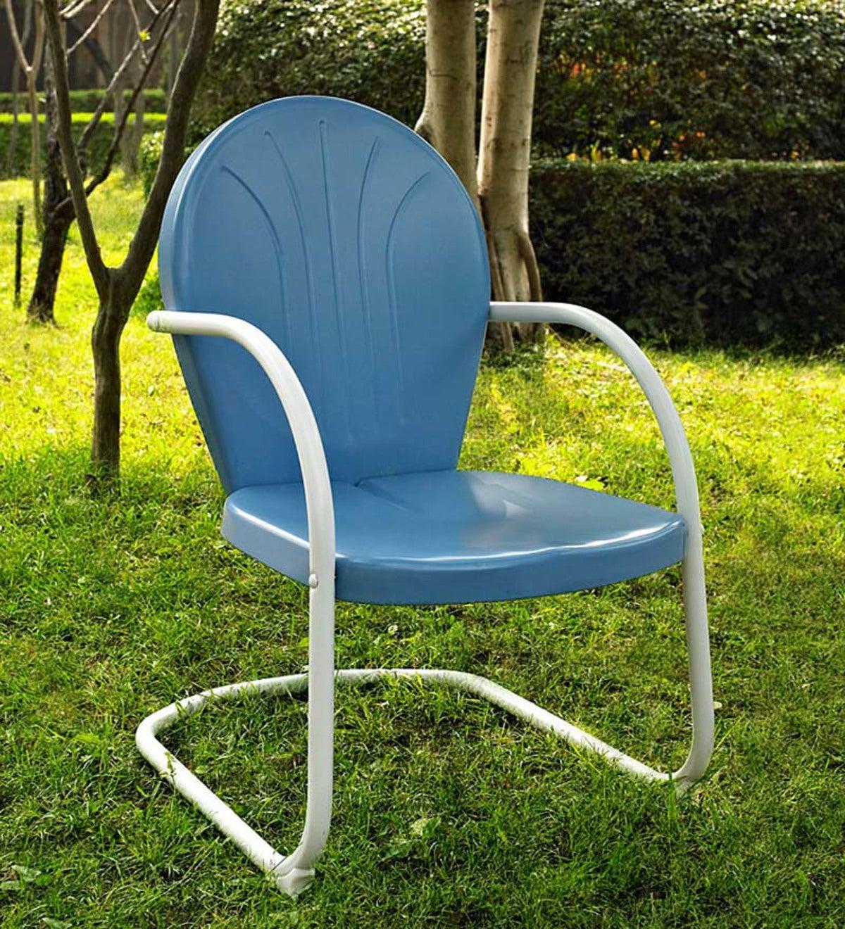 Griffith Retro Metal Lawn Chair Blue Plowhearth